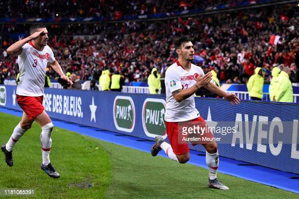 Kaan Ayhan of Turkey reacts after scoring during the UEFA Euro 2020 qualifier between France and Turkey on October 14 2019 in SaintDenis France