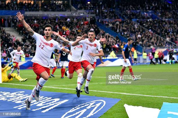 Kaan Ayhan of Turkey reacts after scoring during the UEFA Euro 2020 qualifier between France and Turkey on October 14, 2019 in Saint-Denis, France.