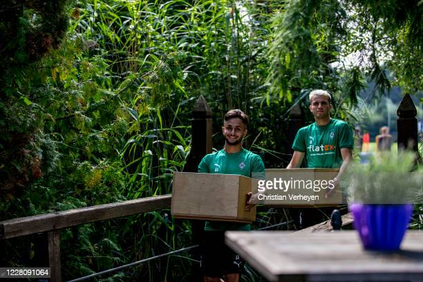 Kaan Kurt and Louis Jordan Beyer are seen after a Training session at the Training Camp of Borussia Moenchengladbach at Klosterpforte on August 18,...
