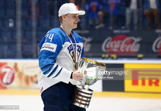 Kaapo Kakko of Finland celebrate with the trophy after winning the gold medal game over Canada during the 2019 IIHF Ice Hockey World Championship...