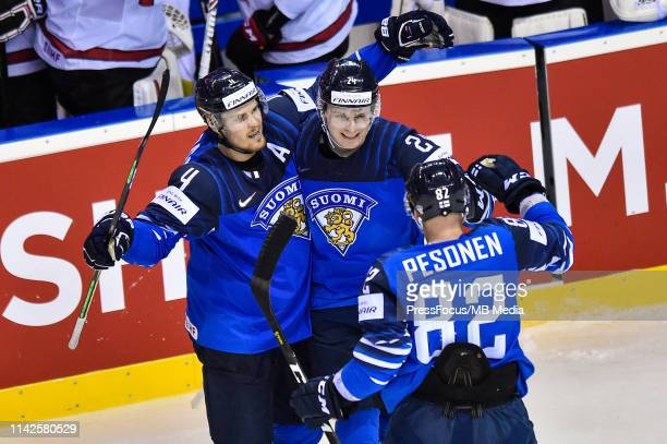 Kaapo Kakko of Finland celebrates scoring a goal during the 2019 IIHF Ice Hockey World Championship Slovakia group A game between Finland and Canada...