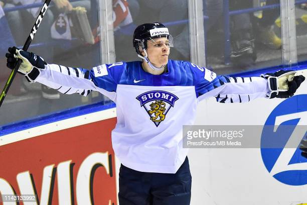 Kaapo Kakko of Finland celebrates scoring a goal during the 2019 IIHF Ice Hockey World Championship Slovakia group A game between Slovakia and...