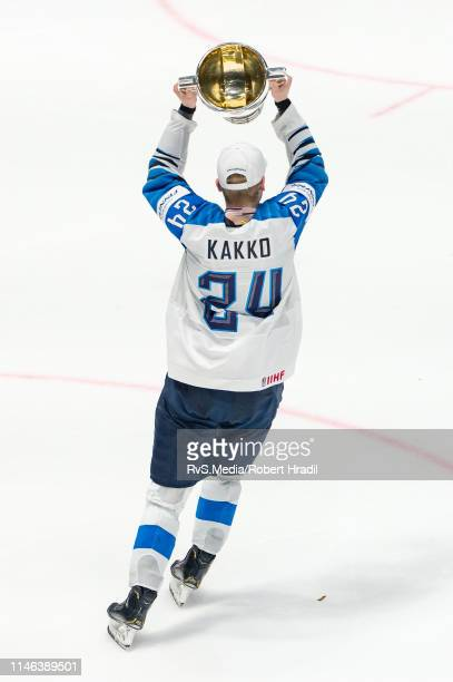 Kaapo Kakko of Finland celebrates with the trophy after the 2019 IIHF Ice Hockey World Championship Slovakia final game between Canada and Finland at...