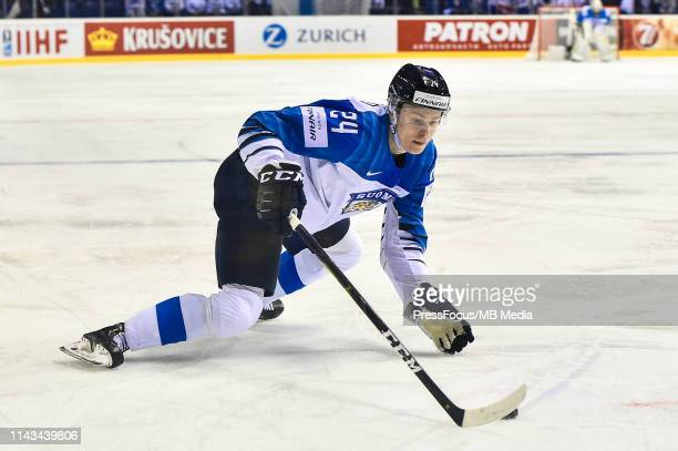 Kaapo Kakko of Finland controls the puck during the 2019 IIHF Ice Hockey World Championship Slovakia group A game between United States and Finland...