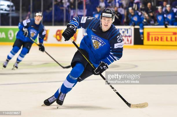 Kaapo Kakko of Finland in action during the 2019 IIHF Ice Hockey World Championship Slovakia group A game between Finland and Great Britain at Steel...