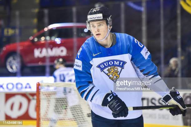 Kaapo Kakko of Finland looks on during the 2019 IIHF Ice Hockey World Championship Slovakia group A game between United States and Finland at Steel...
