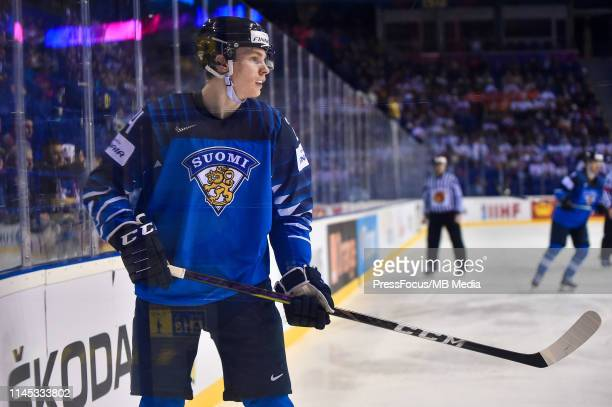 Kaapo Kakko of Finland looks on during the 2019 IIHF Ice Hockey World Championship Slovakia group A game between Finland and Germany at Steel Arena...