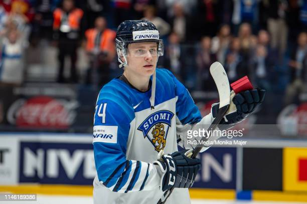 Kaapo Kakko of Finland salutes to the crowd during the 2019 IIHF Ice Hockey World Championship Slovakia semi final game between Russia and Finland at...