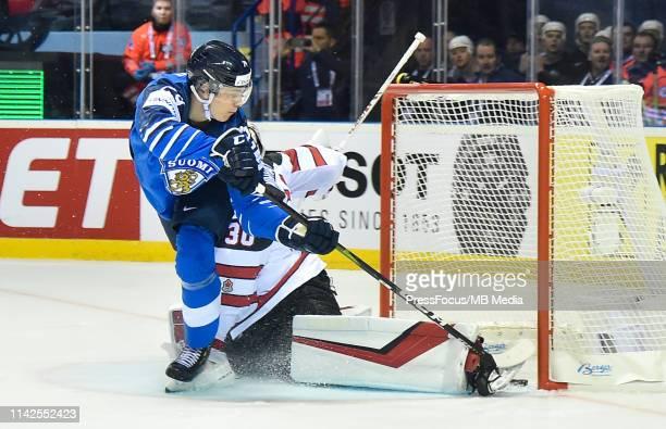Kaapo Kakko of Finland scores a goal agains Matt Murray of Canada during the 2019 IIHF Ice Hockey World Championship Slovakia group A game between...