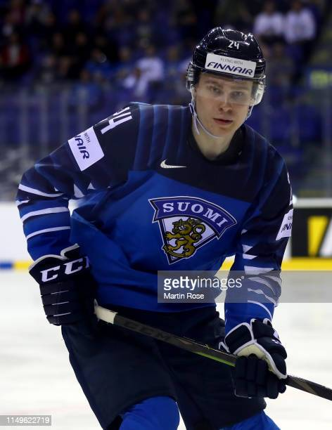 Kaapo Kakko of Finland skates against Denmark during the 2019 IIHF Ice Hockey World Championship Slovakia group A game between Finland and Denmark at...