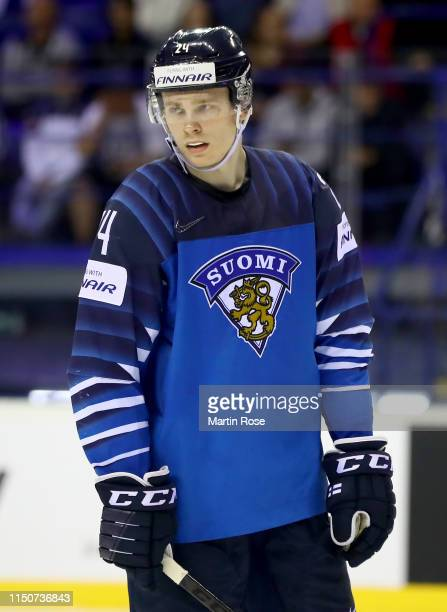 Kaapo Kakko of Finland skates against Germany during the 2019 IIHF Ice Hockey World Championship Slovakia group A game between Finland and Germany at...