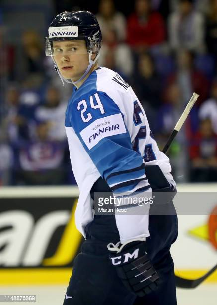 Kaapo Kakko of Finland skates against the United States during the 2019 IIHF Ice Hockey World Championship Slovakia group A game between United...
