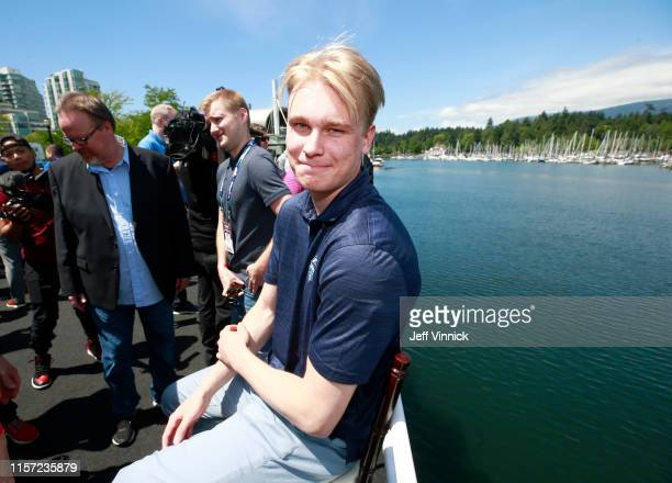 Kaapo Kakko of Finland smiles during the 2019 NHL Draft Top Prospects media availability at the Marina on June 20 2019 in Vancouver Canada