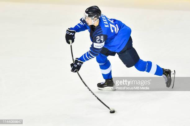 Kaapo Kakko of Finland takes a shot on goal during the 2019 IIHF Ice Hockey World Championship Slovakia group A game between Finland and Denmark at...