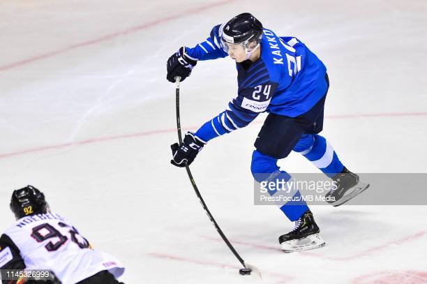 Kaapo Kakko of Finland takes a shot on goal during the 2019 IIHF Ice Hockey World Championship Slovakia group A game between Finland and Germany at...
