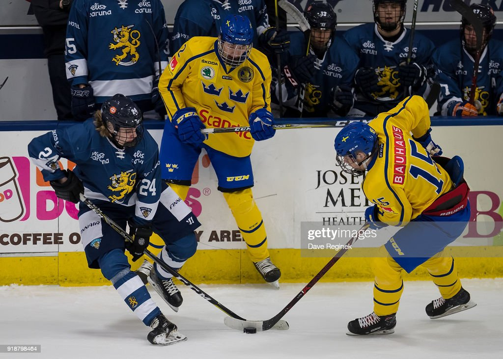 Kaapo Kakko #24 of the Finland Nationals battles for the puck with Filip Hallander #15 of the Sweden Nationals during the 2018 Under-18 Five Nations Tournament game at USA Hockey Arena on February 15, 2018 in Plymouth, Michigan.