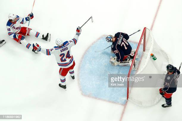 Kaapo Kakko of the New York Rangers celebrates after Brendan Lemieux scores a goal on Joonas Korpisalo of the Columbus Blue Jackets during the second...