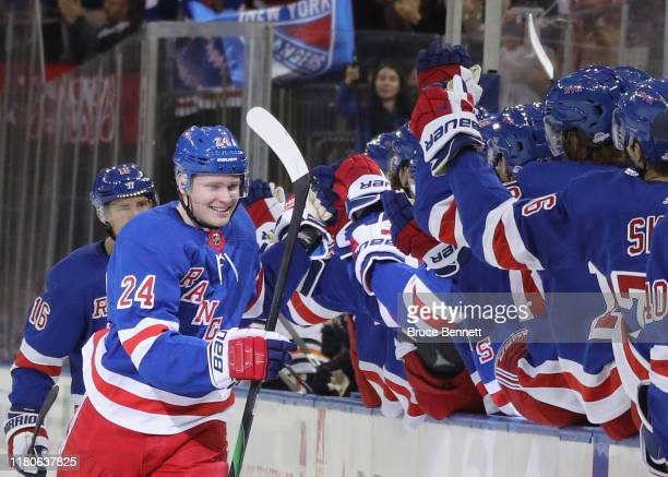 Kaapo Kakko of the New York Rangers celebrates his first NHL goal at 1828 of the first period against the Edmonton Oilers at Madison Square Garden on...