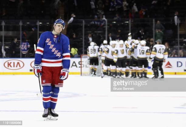 Kaapo Kakko of the New York Rangers leaves the ice following a 41 loss to the Vegas Golden Knights at Madison Square Garden on December 02 2019 in...