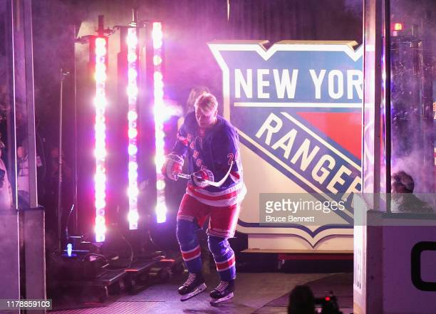 Kaapo Kakko of the New York Rangers skates out for his first NHL game against the Winnipeg Jets at Madison Square Garden on October 03 2019 in New...