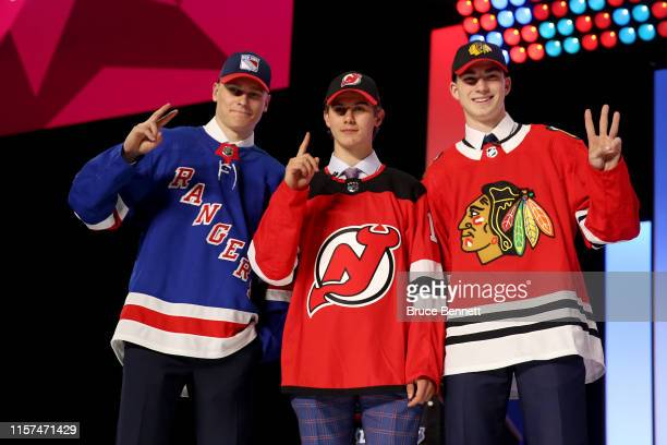 Kaapo Kakko, second overall pick by the New York Rangers, Jack Hughes, first overall pick by the New Jersey Devils, and Kirby Dach, third overall...