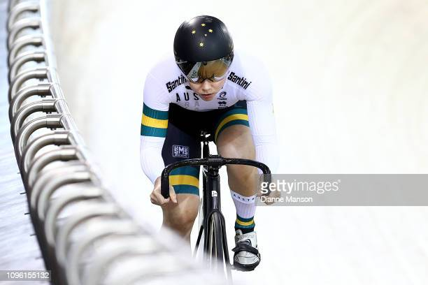 Kaarle McCulloch of Australia competes in the Women's Sprint qualifying during the 2018 UCI Track World Cup on January 19 2019 in Cambridge New...