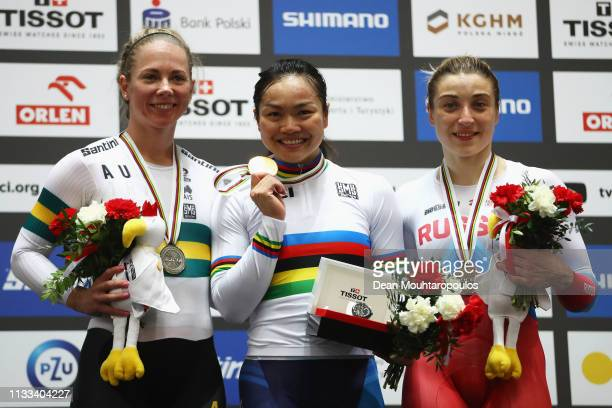 Kaarle McCulloch of Australia Lee Wai Sze of Hong Kong and Daria Shmeleva of Russia pose on the podium for the Women's Keirin Final on day five of...