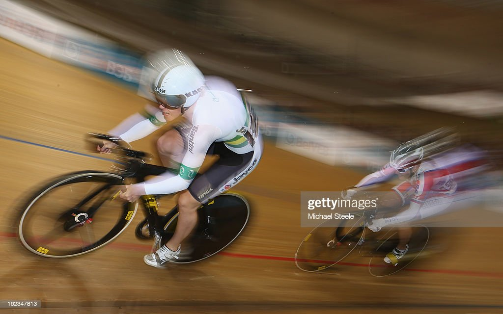 Kaarle McCulloch (L) of Australia on her way to victory during the women's sprint 1/16 finals from Olga Streltsova (R) of Russia during day three of the UCI Track World Championships at Minsk Arena on February 22, 2013 in Minsk, Belarus.
