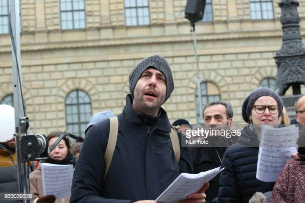 Kabarett artist Claus von Wagner attended the rally Thousands of antiracist protestors gathered under the motto of 'Die Ärzte kommen' 'The doctors...