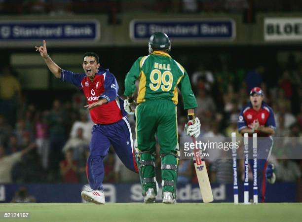 Kabir Ali of England celebrates after Andrew Hall of South Africa is dismissed by the final ball during the 2nd One Day International between South...