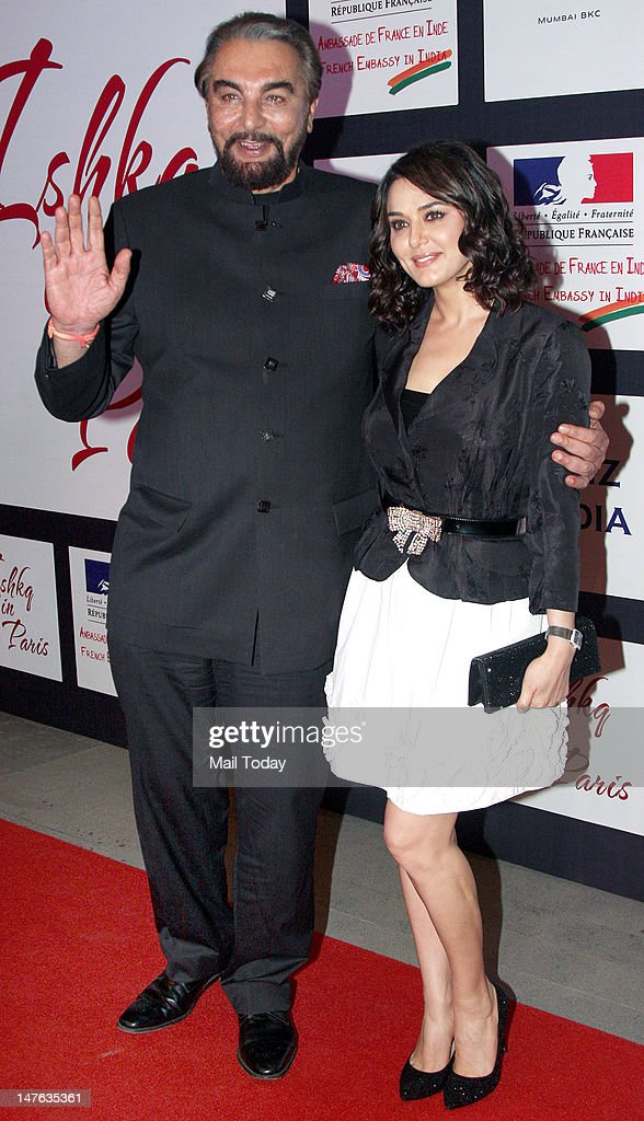 Kabir Bedi and Preity Zinta during the unveiling of the first look of the movie `Ishqk In Paris` held at Trident in Mumbai on June 19 2012