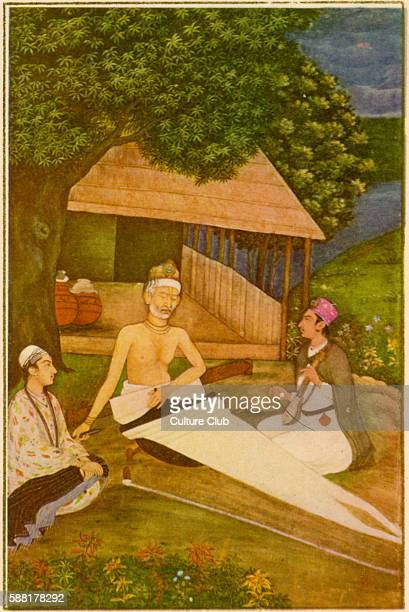 Kabir, Hindu religious poet: 1440–1518. From the Mughal School, 18th century. Caption reads: Kabir, the Hindu religious poet, working as a weaver at...