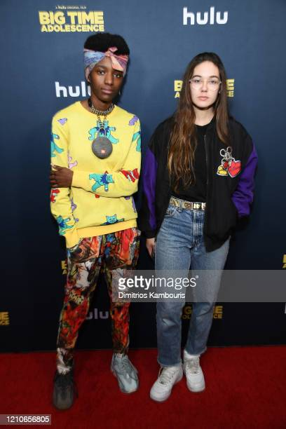"""Kabrina Adams and Rachelle Vinberg attend the premiere of """"Big Time Adolescence"""" at Metrograph on March 05, 2020 in New York City."""