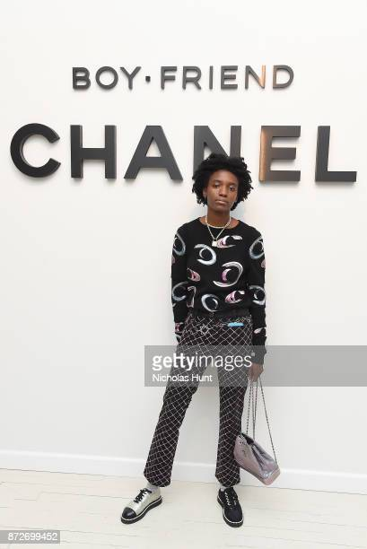 Kabrina Adams wearing CHANEL attends as CHANEL celebrates the launch of the Coco Club a BoyFriend Watch event at The Wing Soho on November 10 2017 in...