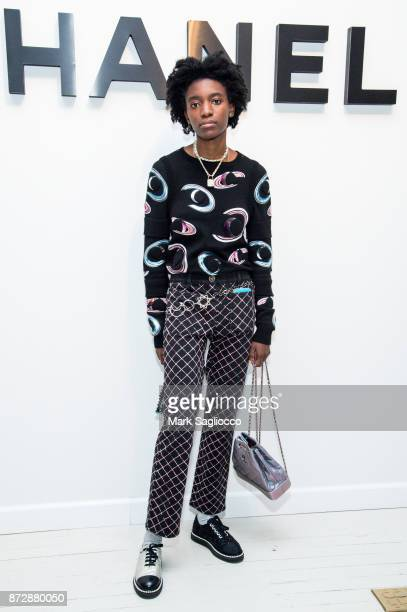 Kabrina Adams wearing CHANEL attends the CHANEL celebration of the launch of The Coco Club at The Wing Soho on November 10 2017 in New York City