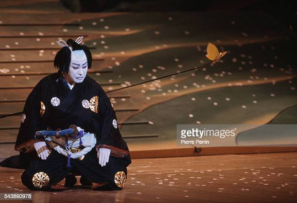 Kabuki a traditional form of Japanese theater is characterised by its dramatic stylization and elaborate makeup Translated as the 'art of singing and...