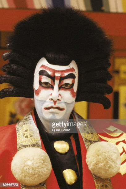 Kabuki actor Detail of the face of an actor of Kabuki of the company of Ichikawa Ennosuke