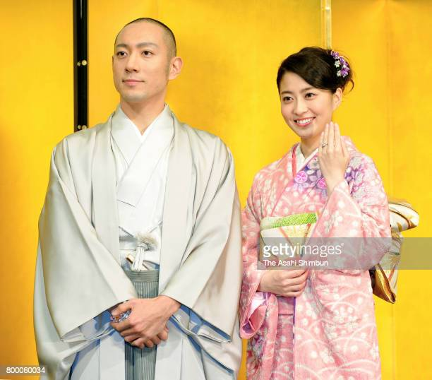 Kabuki actor Ebizo Ichikawa and former TV anchor Mao Kobayashi hold a press conference on their engagement at the Park Tower Hotel on January 29 2010...