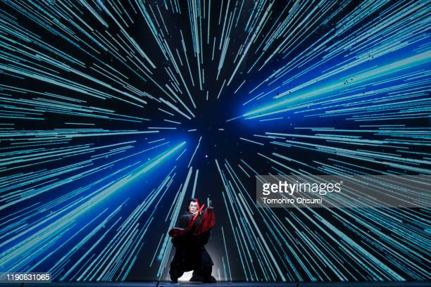 Kabuki actor Ebizo Ichikawa performs during the 'Star Wars Kabuki' performance that was produced to promote the upcoming release of 'Star Wars The...