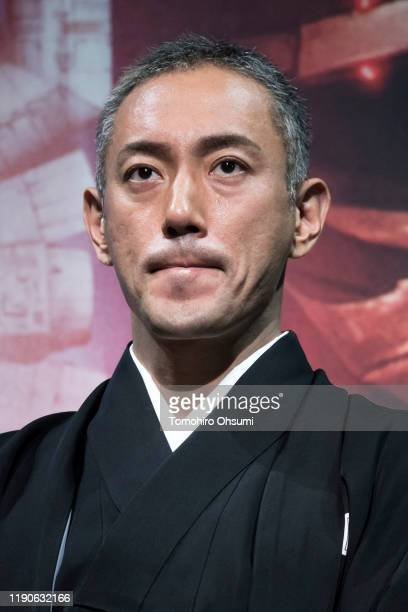 Kabuki actor Ebizo Ichikawa speaks before the 'Star Wars Kabuki' performance that was produced to promote the upcoming release of 'Star Wars The Rise...