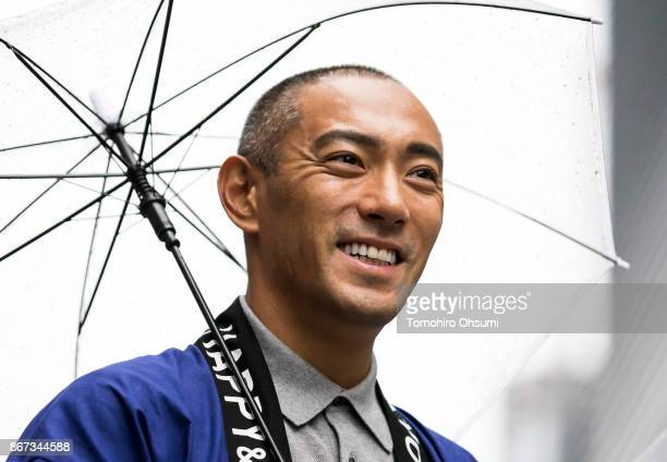 Kabuki Actor Ebizo Ichikawa XI who is also a member of the Tokyo 2020 Culture and Education Commission attends the Tokyo 2020 Olympic 1000 Days...