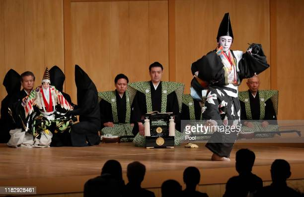 Kabuki actor Ichikawa Ebizo performs at the banquet hosted by Prime Minister Shinzo Abe and spouse Akie Abe on October 23 2019 in Tokyo Japan