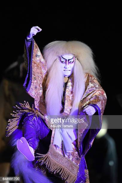 A kabuki actor performs during the opening ceremony for the World Baseball Classic Pool B Game One between Cuba and Japan at Tokyo Dome on March 7...