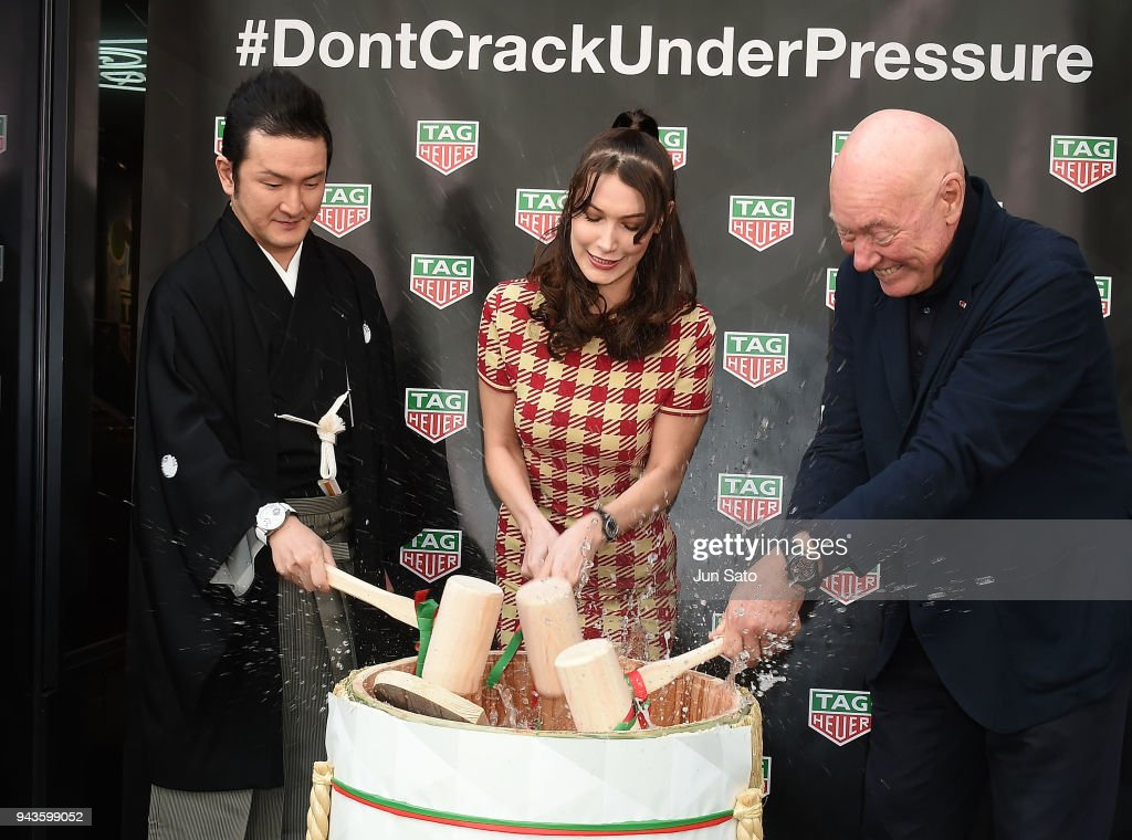 Kabuki actor Shido Nakamura, Bella Hadid and Head of Watchmaking of LVMH Jean-Claude Biver attend the opening ceremony for Tag Heuer Ginza Boutique on April 9, 2018 in Tokyo, Japan.