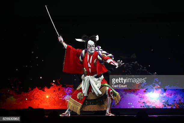 Kabuki actor Shido Nakamura performs in a final dress rehearsal for the kabuki theatre show 'Hanakurabe Senbonzakura' on April 28 2016 in Tokyo Japan...