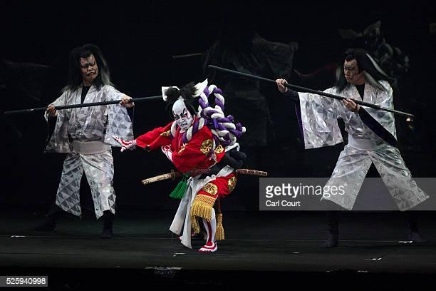 Kabuki actor Shido Nakamura performs in a final dress rehearsal for the kabuki theatre show 'Hanakurabe Senbonzakura' on April 28 2016 in Tokyo Japan...