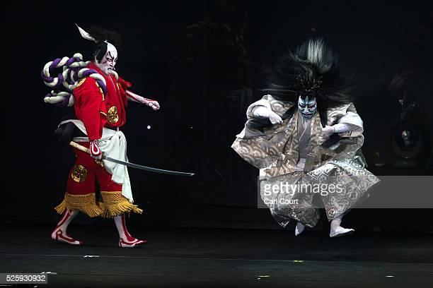 Kabuki actor Shido Nakamura performs with Kuniya Sawamura in the kabuki theatre show 'Hanakurabe Senbonzakura' on April 29 2016 in Tokyo Japan The...