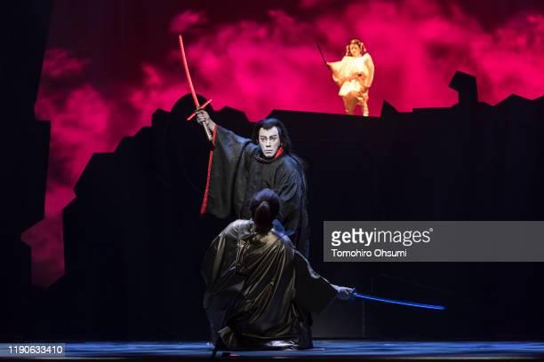 Kabuki actors Ebizo Ichikawa and his son Kangen Horikoshi perform during the 'Star Wars Kabuki' performance that was produced to promote the upcoming...