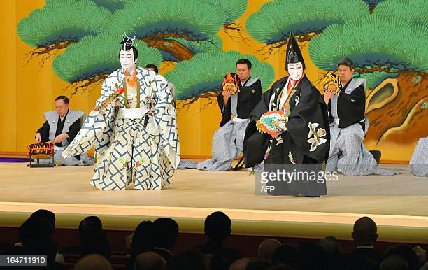 Kabuki actors Onoe Kikugoro and Nakamura Baigyoku perform the Sanbaso divine dance for the celebration of the reopening at the newly rebuilt Kabukiza...