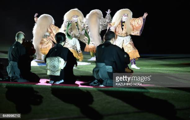 Kabuki actors perform a Japanese traditional Kabuki dance during an opening ceremony before the World Baseball Classic Pool B first round match...